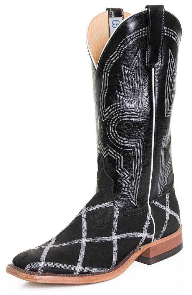 Anderson Bean Mens Loch Ness Square Toe Cowboy Boots with Glow in the Dark Stitching - Black (Closeout) $228.90