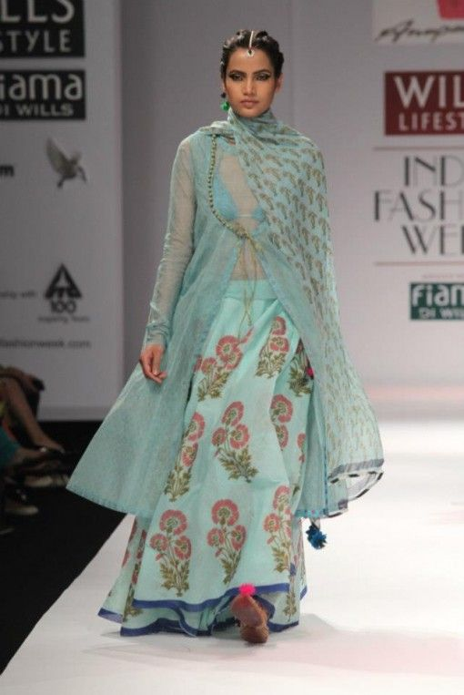 Anupama Dayal blue green and gold lengha wifw a/w 2013
