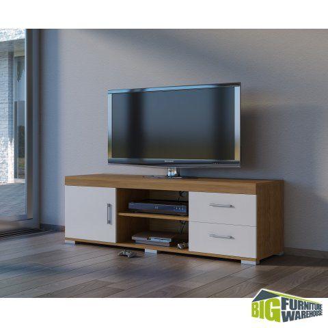 Vienna Oak White Gloss TV Stand | Big Furniture Warehouse