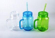 Plastique réutilisable gobelets en verre potable tasse Mason Jar Différentes couleurs pour le mariage Parti(Hong Kong)