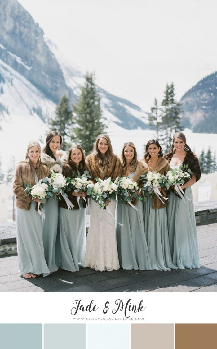 12 Of The Loveliest Winter Wedding Color Palettes Chic Vintage Brides Winter Wedding Color Palette Winter Wedding Bridesmaids Winter Wedding Colors