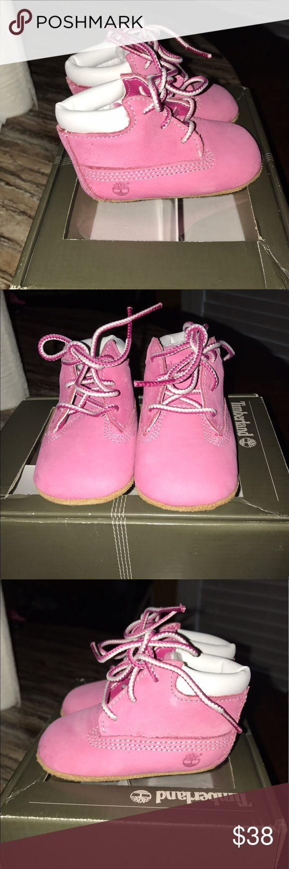 Timberland Baby Boots Timberland pink and white baby boots. Size 1 brand new never worn. Timberland Shoes Boots