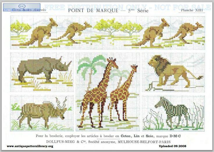 Dillmont, Th. de, ed. D.M.C. Point de Marque [5] 5me Serié, Mulhouse, Dollfus Mieg & Cie (first pub c.1920). Art deco. Page 16. Savannah animals (giraffe, lion, zebra, rhino, water buffalo (?)), but also, inexplicably, kangaroos.