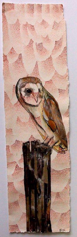 "© Holly Gordon ""Tyto Alba"" 2014, Watercolour, pen, ink, collage, 90 x 35cm"