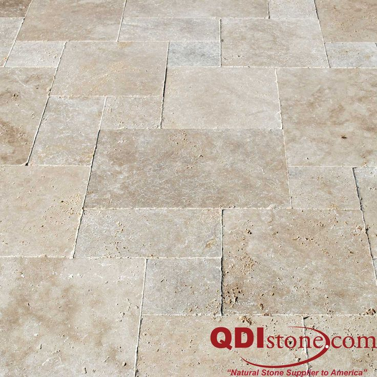Travertine pavers are pretty popular in the french pattern as you can see in this photo.  It is a four size pattern that has 16x24, 16x16, 8x16 and 8x8s.  It gives the pattern people want without the contractor having to cut each piece.