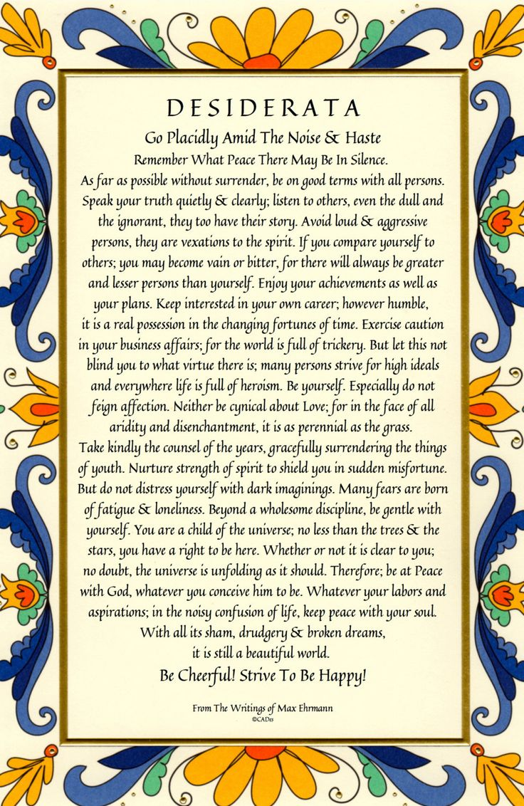 Desiderata Poem 11 X 17 28x43cm Art Card by DesiderataGallery                                                                                                                                                                                 More