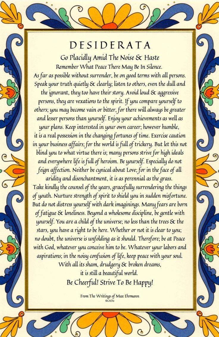 Desiderata Poem 11 X 17 28x43cm Art Card by DesiderataGallery