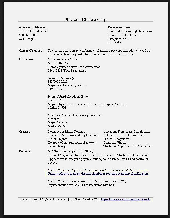 Resume Example For Fresh Graduate Pdf