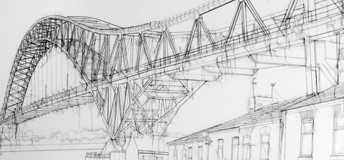 Jubliee Bridge, detail, Debbie Smyth, pins and thread
