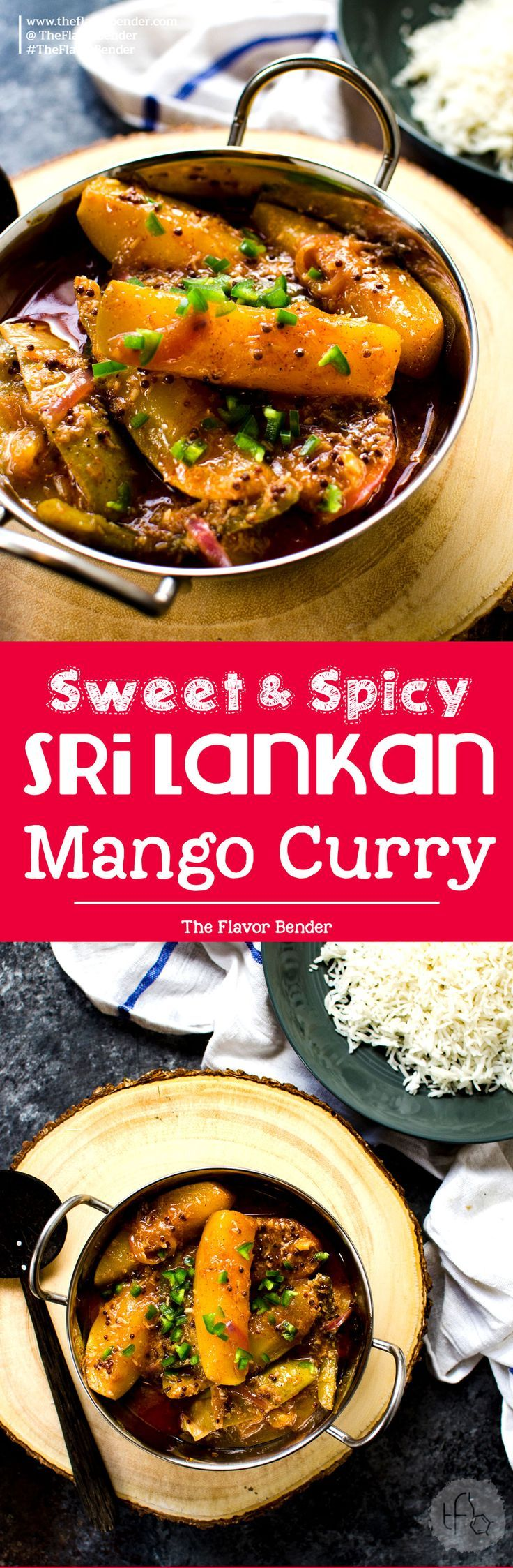 Sri Lankan Mango Curry - An easy curry recipe that is sweet, sour and spicy. Vegan and Gluten free and is absolutely amazing! A Sri Lankan favorite! #SriLankanFood #VeganCurry #VegetarianCurry via @theflavorbender