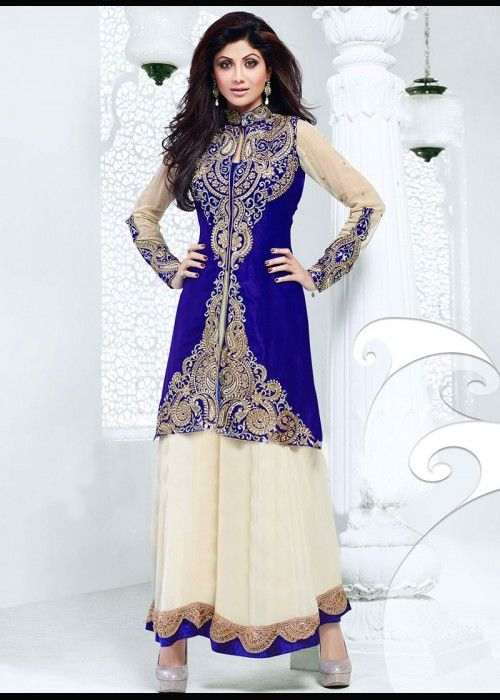 Shilpa shetty blue & cream ankle length anarkali suit