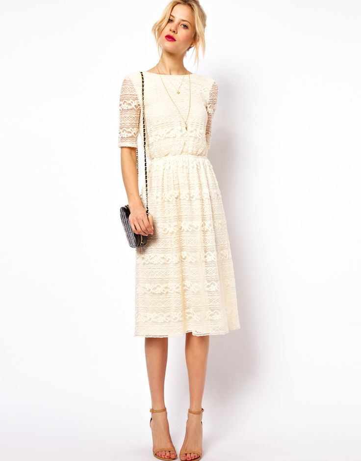 ASOS | ASOS Midi Dress In Lace With Wrap Back at ASOS