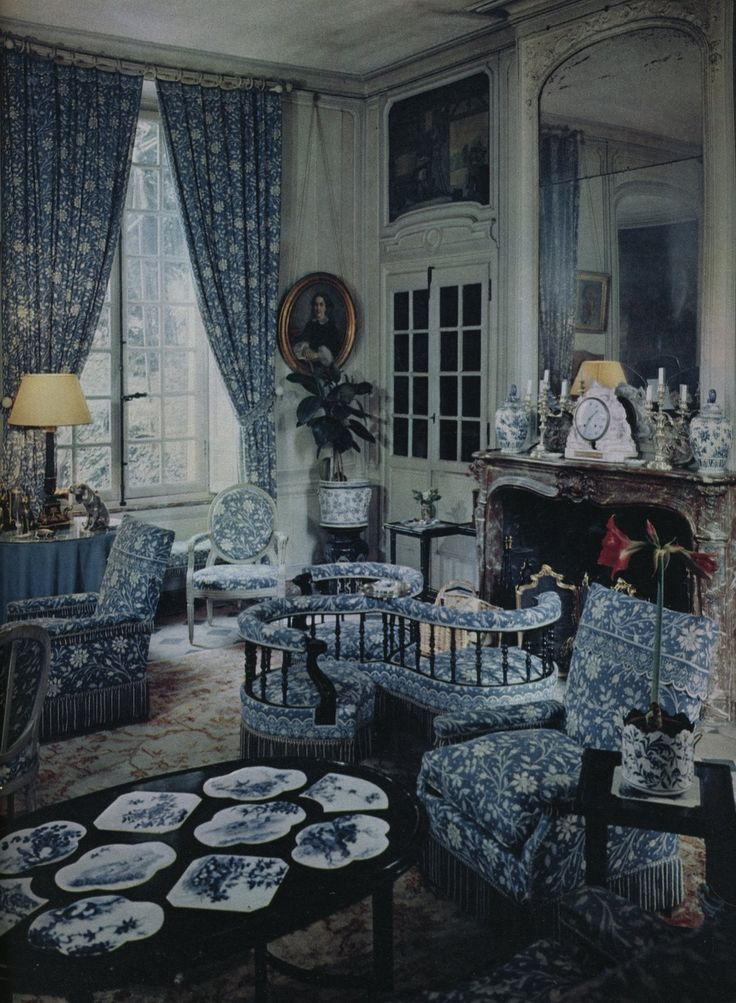 /Chateau de Vilmorin in Verrieres-le-Busisson. Though she lived many places the family home remained her domain- as six doting brothers assured her. The main salon of the house was deliciously smothered in the cotton print now widely known as Verrieres.