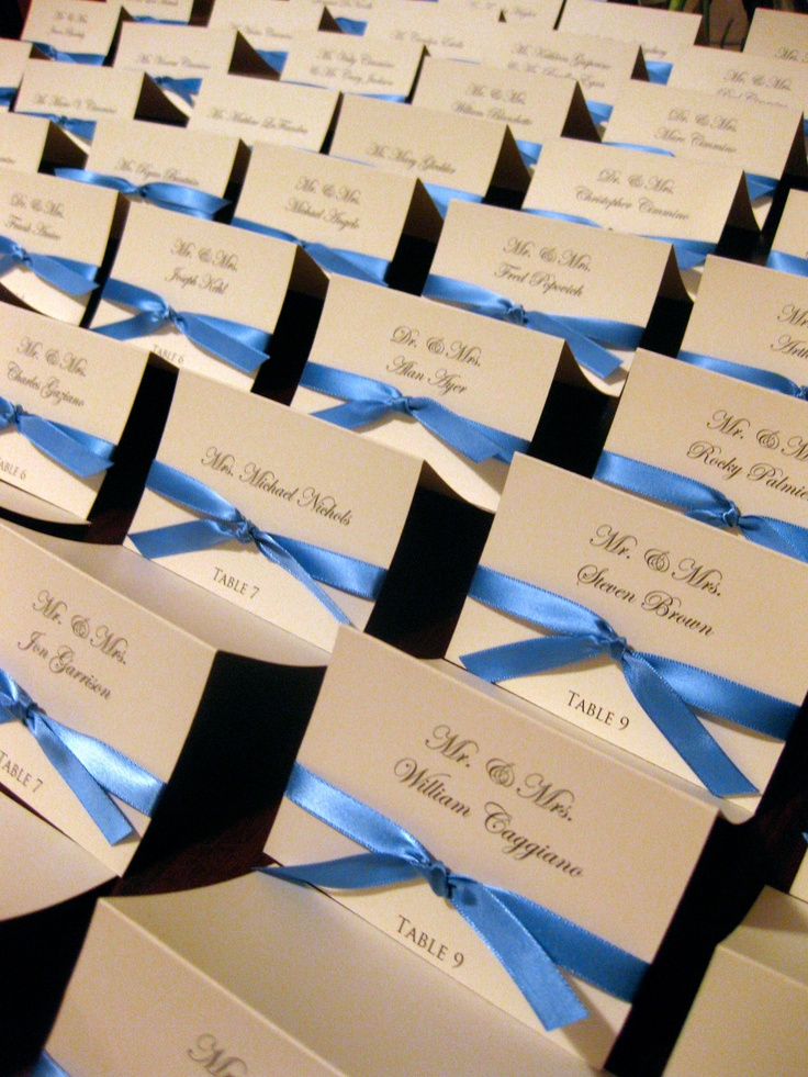 Wedding Place Cards - but with brown ribbon instead.