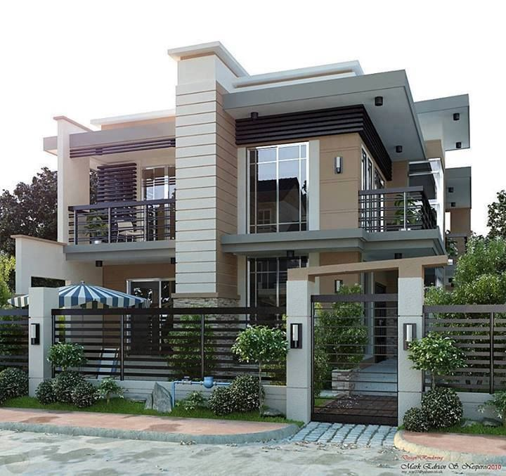 Beautiful 2 story modern residential house architecture for Pretty two story houses