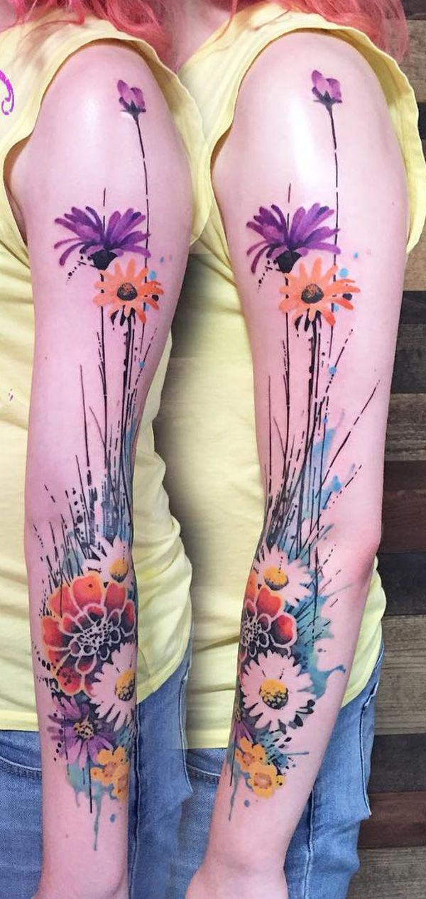 Watercolor flower sleeve tattoo - Flower tattoos could have different meanings depending on the culture of your place. For example in Japan, it's commonly a design for the most prominent. The meaning of your tattoo could also differ according to the kind of flower you picked for the design.