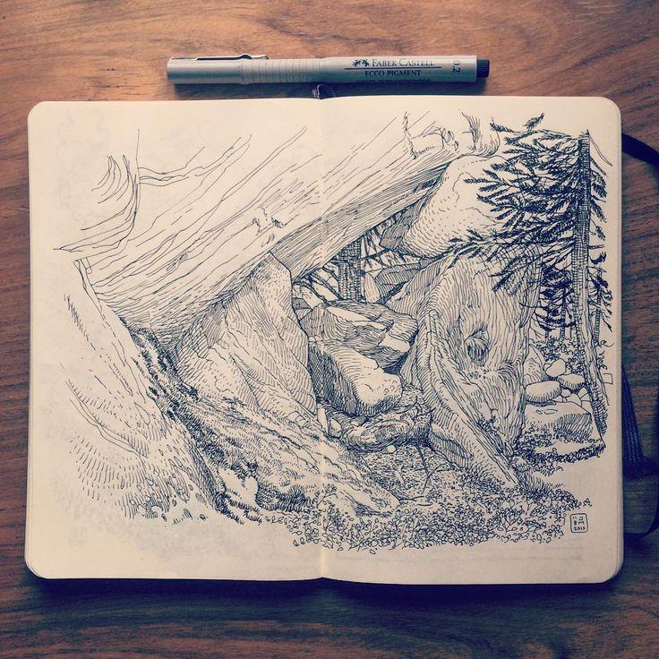 Drawing rocks in the Swiss mountains. #Wallis #Switzerland #mountain #illustration in my #Moleskine #Sketchbook
