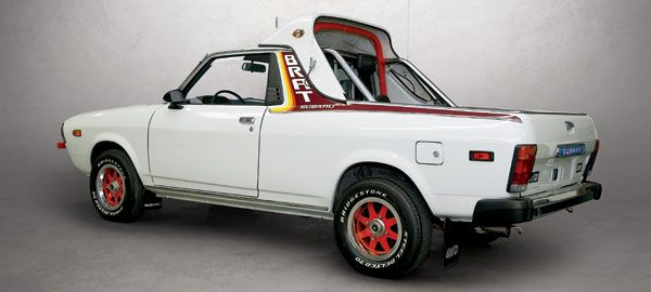 "this Subaru BRAT has a ""high"" bar, intended for owners wishing to use the rear seats (the available ""low"" bar was for owners not intending to use the rear seats)"