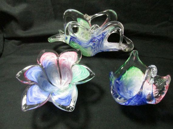 Novelty Votive flower cup, napkin holder, and swan dish, Murano Art Glass  in combination colors of clear, pink, blue, green, lot of 3