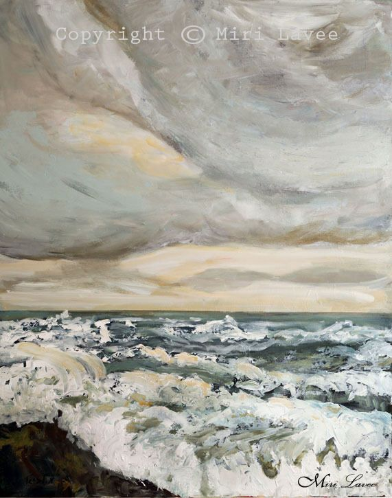 Storm at sea oil painting by Miri Lavee. The thrill & beauty of a sea storm for all you (like me) sea lovers. To see the painting in my Etsy shop click on the photo. #storm #Seascape #Seascapeoilpainting #Oceanpainting #oceanart #ocean #sea #mirilavee #seastorm #oilpainting #seascapedecor #seascapepainting