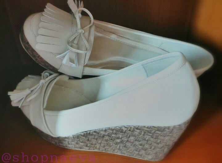 HARPER -   white loafer style wedges. Perfect for a picnic in the park.