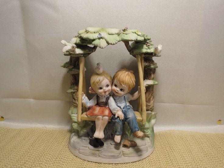 Figurine Boy & Girl on Swing ESD Japan Bisque Porcelain Handpainted