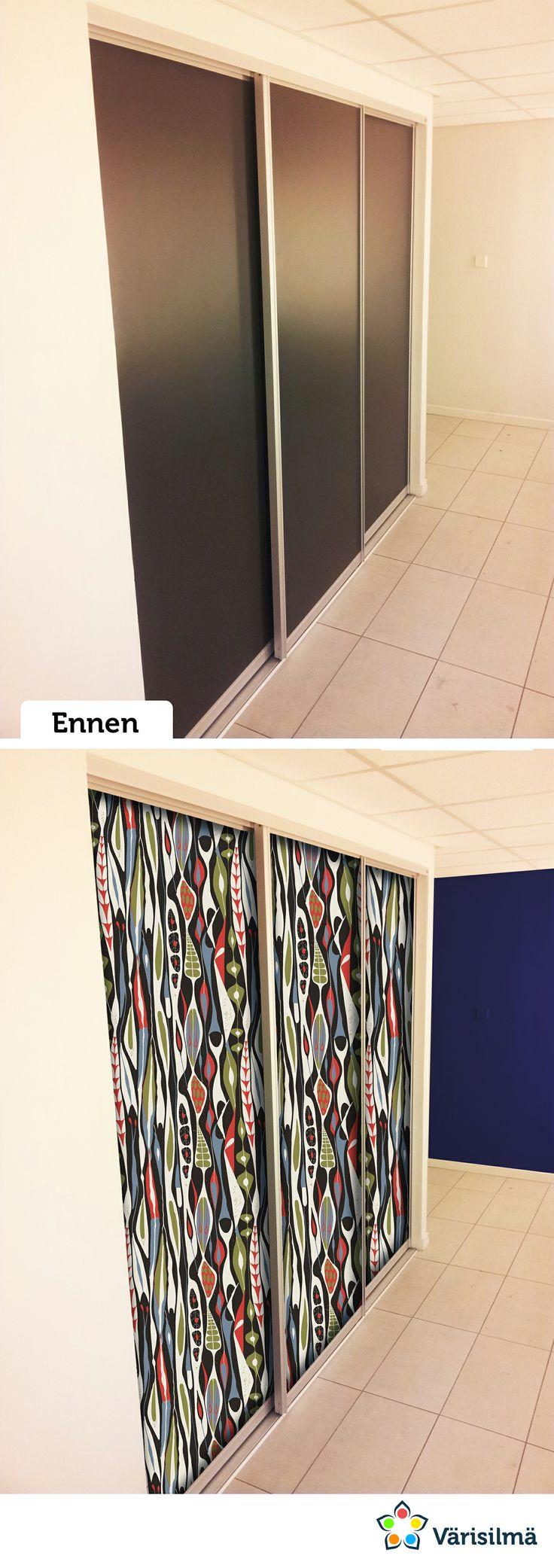 Tapettina Wallpapers by Scandinavian Designers, malli 2757. Päätyseinän maalina Lumo Muste. kauppa.varisilma.fi #varisilmamakeover