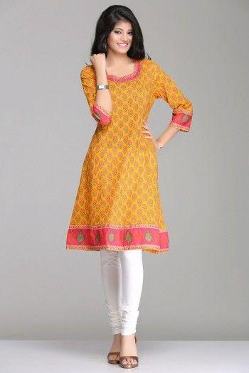 Stunning Orange & Pink Floral Magic A-Line Cotton Kurta By Farida Gupta
