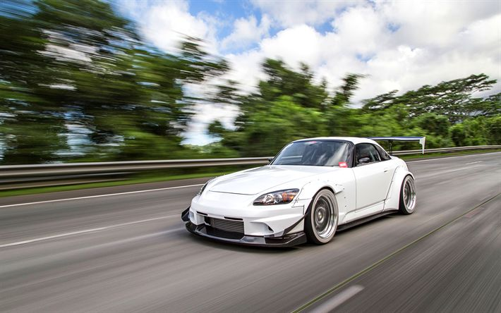 Download Wallpapers Honda S2000, 4k, Stance, Road, White