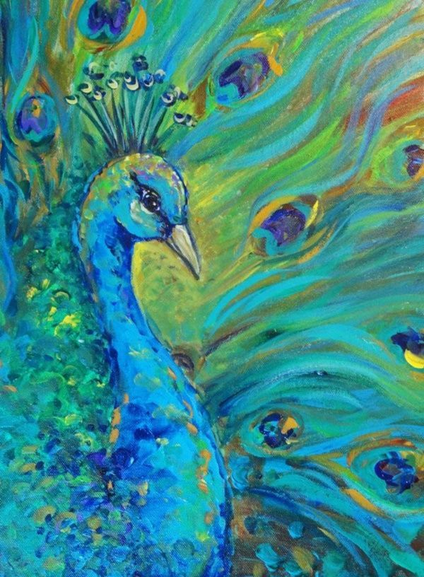 110 Easy Canvas Painting Ideas For Beginners Peacock Art