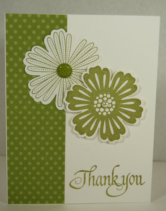 Hand Made Rubber Stamped THANK YOU Greeting Card by Jillybeanfl, $2.50