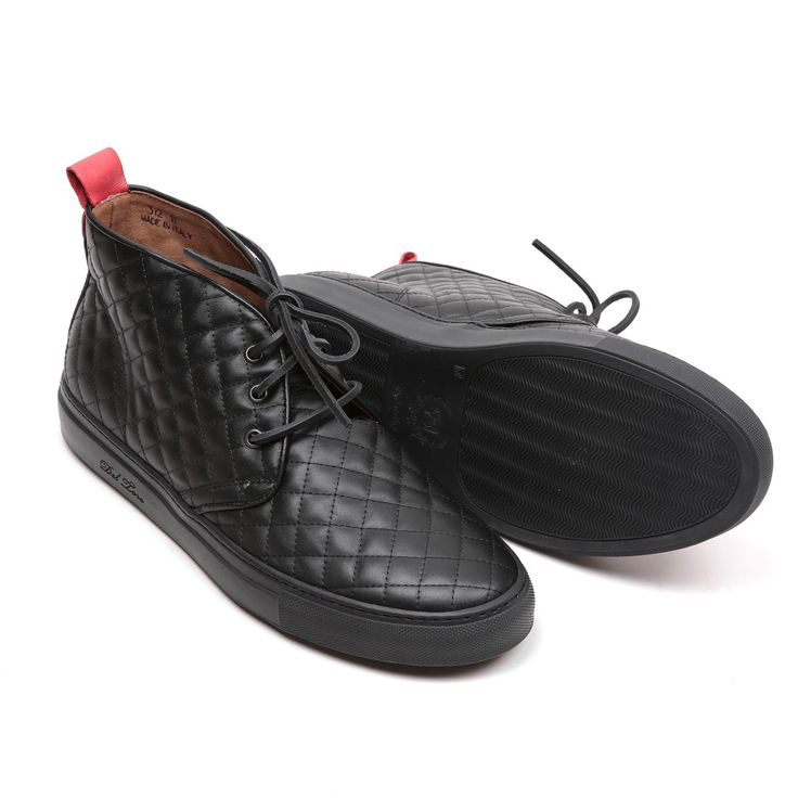 Men's Black Quilted Nappa Leather Alto Chukka Sneaker - Sneaker - Men's