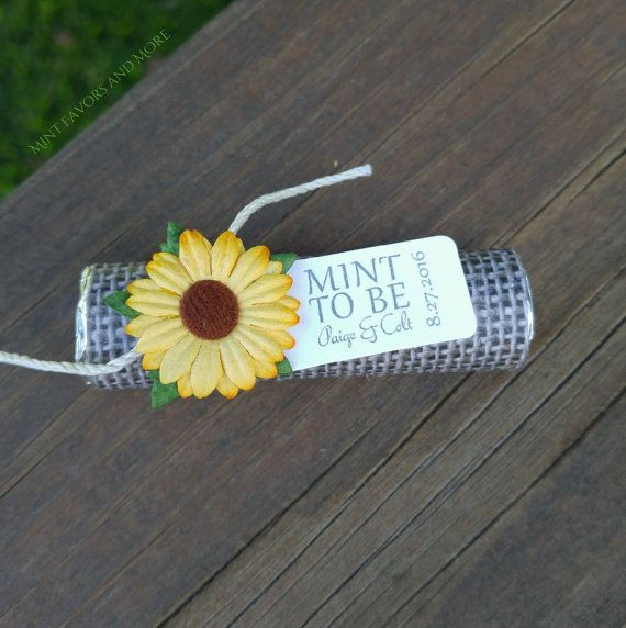 sunflower wedding favors with personalized by BabyEssentialsByMel
