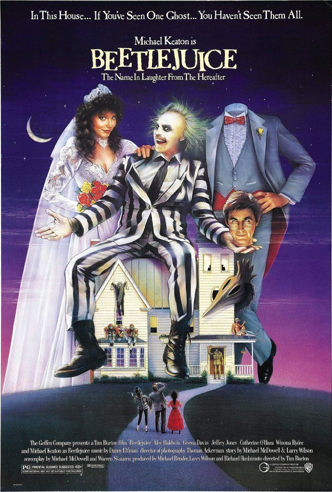 """Directed by Tim Burton.  With Alec Baldwin, Geena Davis, Michael Keaton, Annie McEnroe. A couple of recently deceased ghosts contract the services of a """"bio-exorcist"""" in order to remove the obnoxious new owners of their house."""