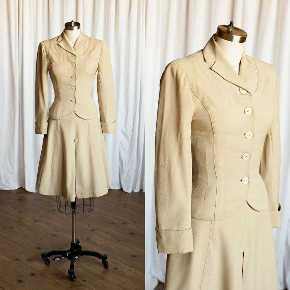 RESERVED It Had To Be You suit   vintage 40s suit   1940s cream / beige suit   vintage Glenhum wedding suit   vintage 50s suit