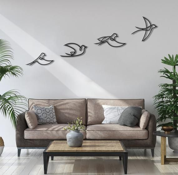 Metal Wall Art Birds Wall Decor Metal Sign Metal Birds Sign