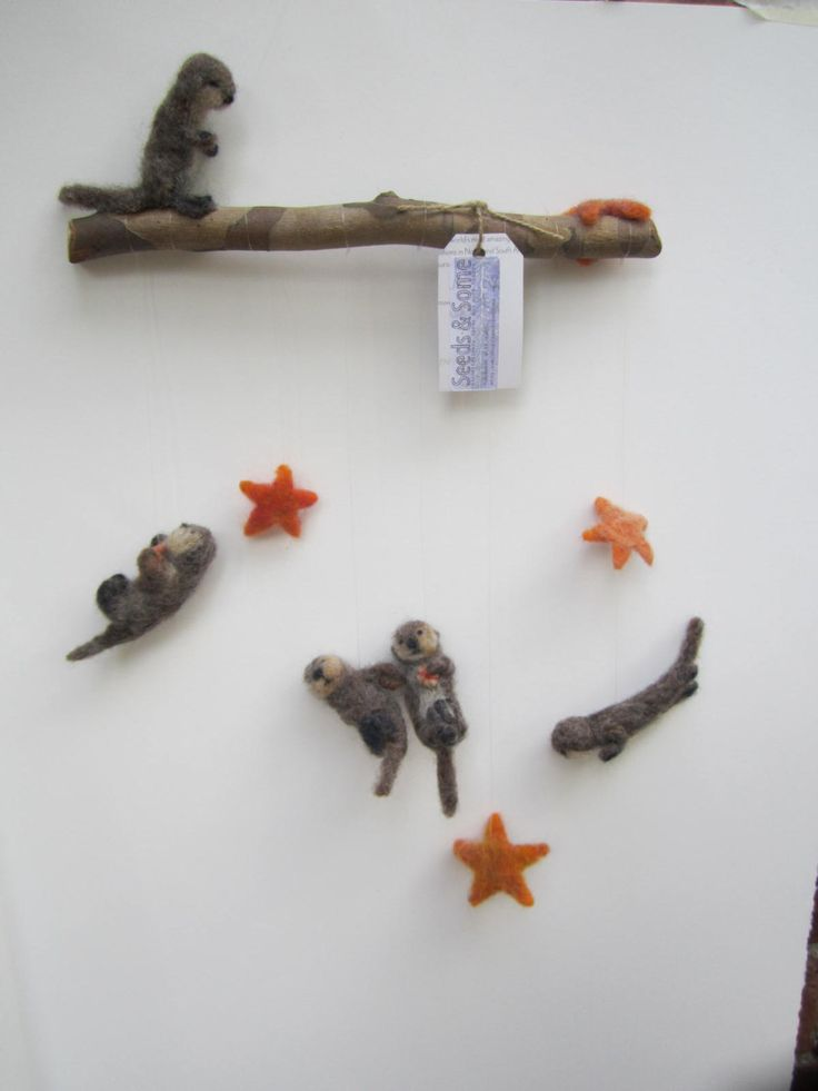 Baby Mobile, Sea Otter Pup, Sea Urchin and Sea Star needle felted baby mobile, nursery decor by seedsandsome on Etsy