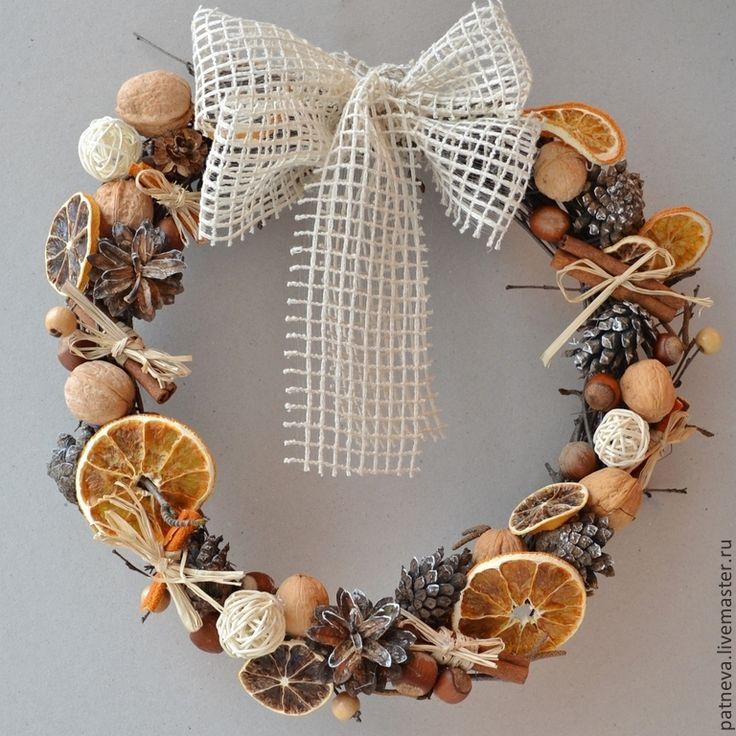Купить Венок интерьерный - венок, венок на дверь, венок новогодний, венок из лозы, эко венок