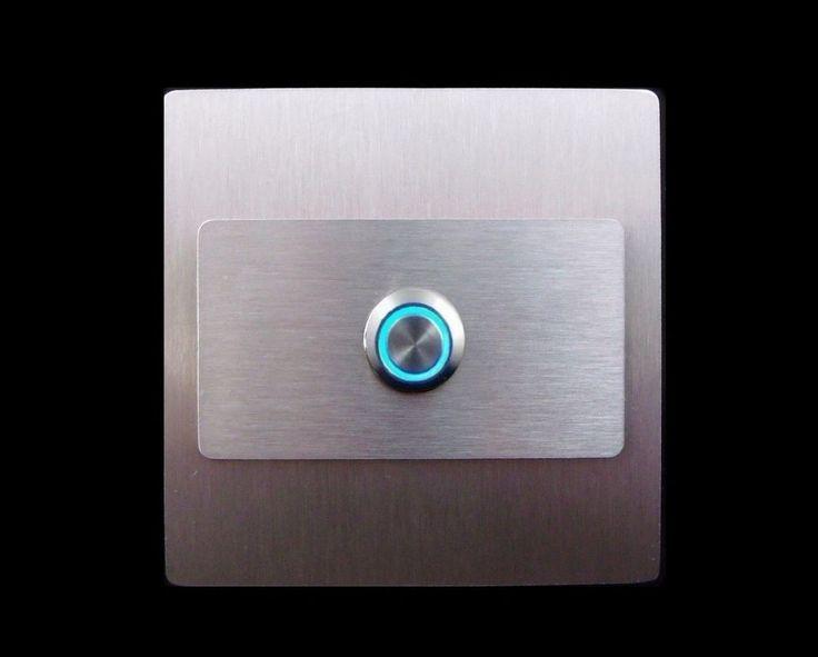 TÜRKLINGEL. Klingelplatte- EDELSTAHL - LED Blau  - Design - Quadrat&Rechteck