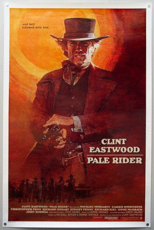 Pale Rider (1985) This tense Western stars Clint Eastwood as a stranger in a clerical collar who rides into a mining town and comes to the aid of some gold prospectors under the thumb of a ruthless landowner. Clint Eastwood, Michael Moriarty, Carrie Snodgress...western