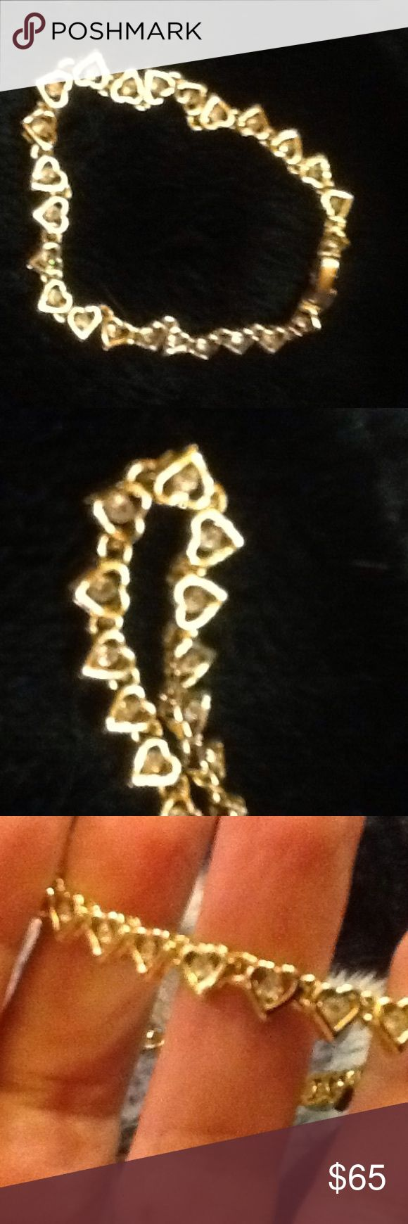 💝🎉SALE high quality costume 💝SALE🎉🎉🎉💝💝💝🎉 High quality costume jewelry all hearts with cubic zirconia just beautiful standard women's size ., picture doesn't do it justice I have bad lighting .flip closure for do it yourself!!!💍💍. Neiman Marcus Jewelry Bracelets