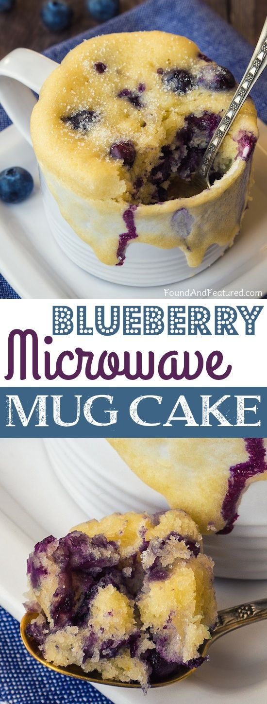 Easy Microwave Blueberry Mug Cake Recipe -- A super easy no bake dessert for one that cooks in the microwave in just a few minutes!