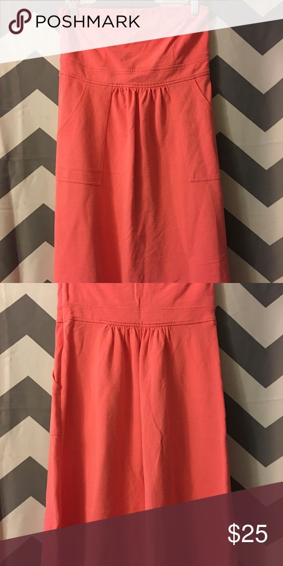 J Crew strapless coral dress, size 4 J Crew strapless, Coral dress, size 4.  Material is like that of a polo shirt.  Really nice! J. Crew Dresses Strapless