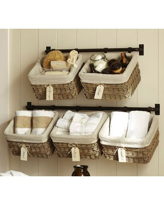 Customizable storage for those cramped spaces. Get it here: http://www.bhg.com/shop/pottery-barn-build-your-own-hannah-basket-wall-system-p516bdf8de4b0455b7238334a.html?mz=a