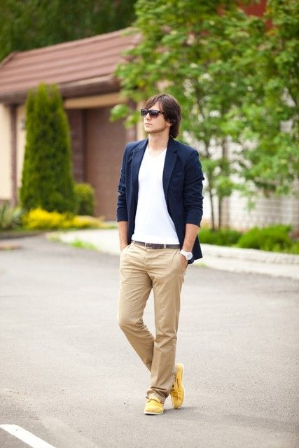 Shop this look on Lookastic:  http://lookastic.com/men/looks/blazer-crew-neck-t-shirt-chinos-boat-shoes-belt-sunglasses-watch/11425  — Dark Brown Sunglasses  — White Crew-neck T-shirt  — Navy Blazer  — Dark Brown Leather Belt  — White Ceramic Watch  — Khaki Chinos  — Yellow Canvas Boat Shoes
