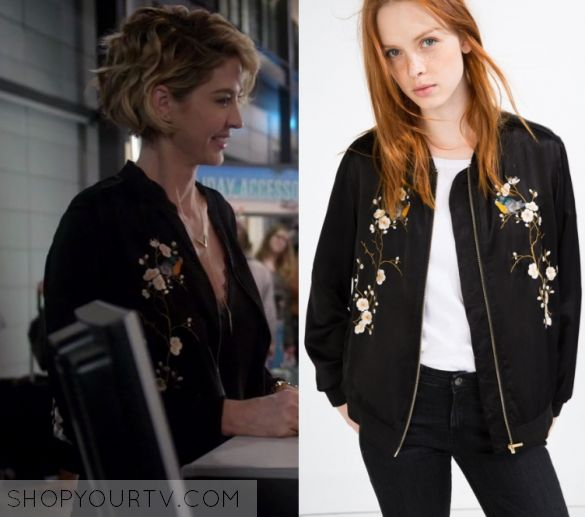 """Imaginary Mary: Season 1 Episode 8 Alice's Black Embroidered Bomber   Shop Your TV Alice (Jenna Elfman) wears this black cherry blossom embroidered bomber jacket in this episode of Imaginary Mary, """"Last Dance With Mary"""".  It is the Zara Floral Embroidered Bomber Jacket"""