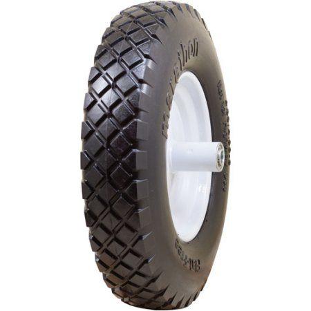 Marathon 00047 16 in Knobby Flat Free Wheelbarrow Tire, Multicolor