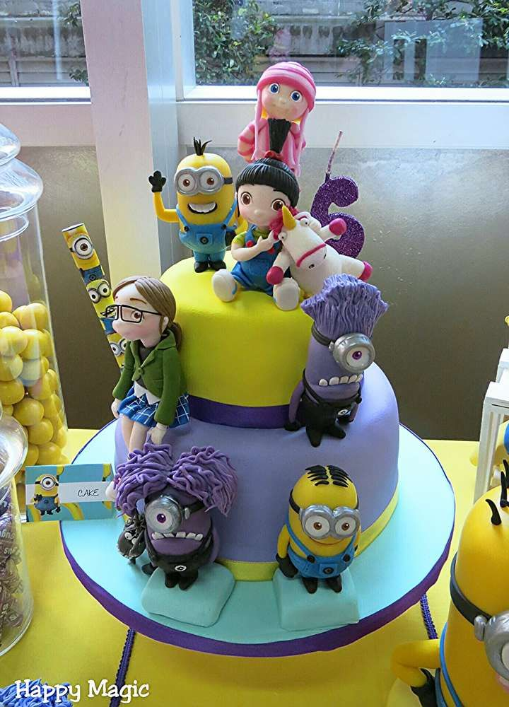 Cute cake at a Despicable Me birthday party! See more party planning ideas at CatchMyParty.com!
