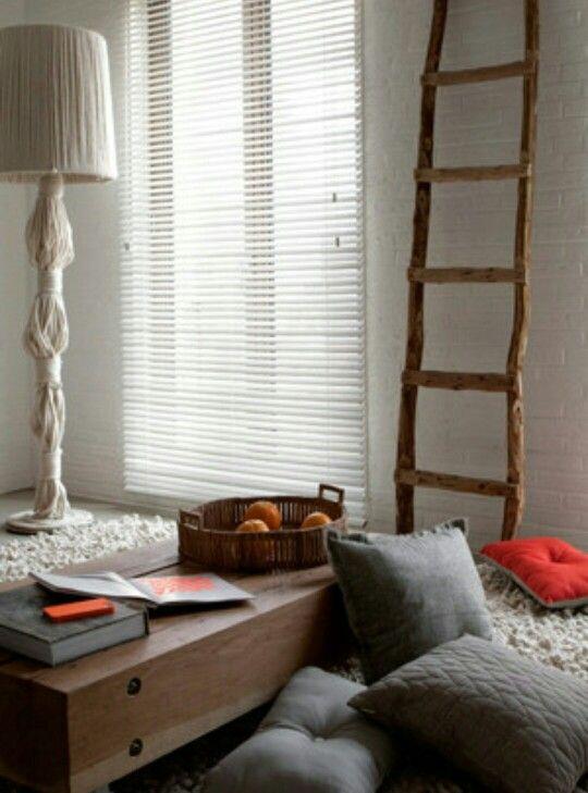 Grey, white, wood livingroom