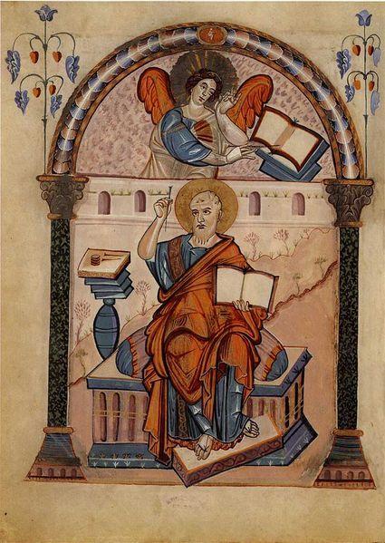 Carolingian Evangelist portrait from the Codex Aureus of Lorsch, using a Late Antique model, late 8th century